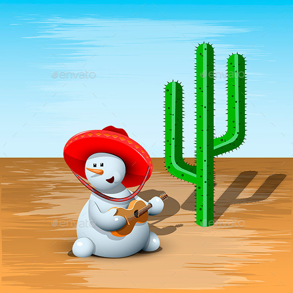 GraphicRiver Snowman and Cactus 9510889