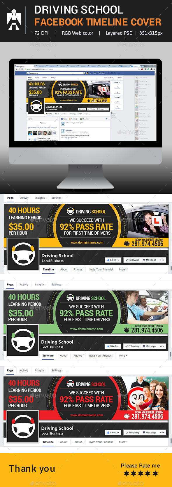 GraphicRiver Driving School Facebook Timeline Cover 9456491