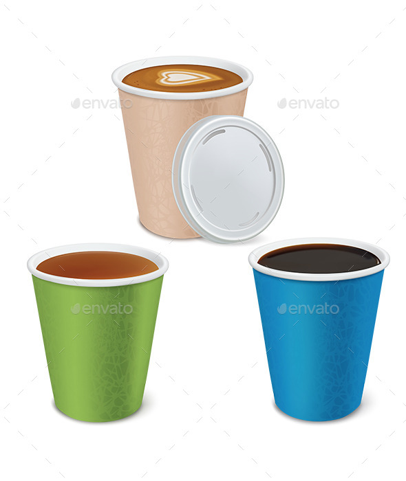 GraphicRiver Tea Cappuccino Coffee in Paper Cups 9511238