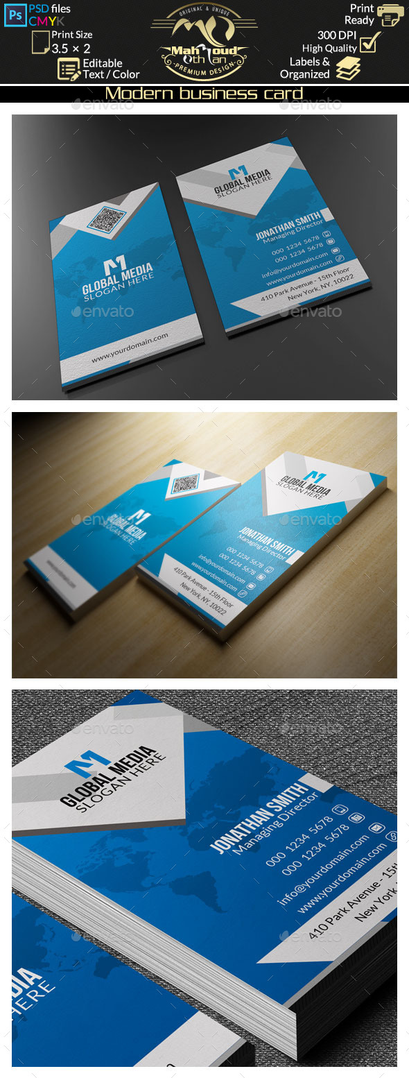GraphicRiver Modern Blue Business Card 60 9511626