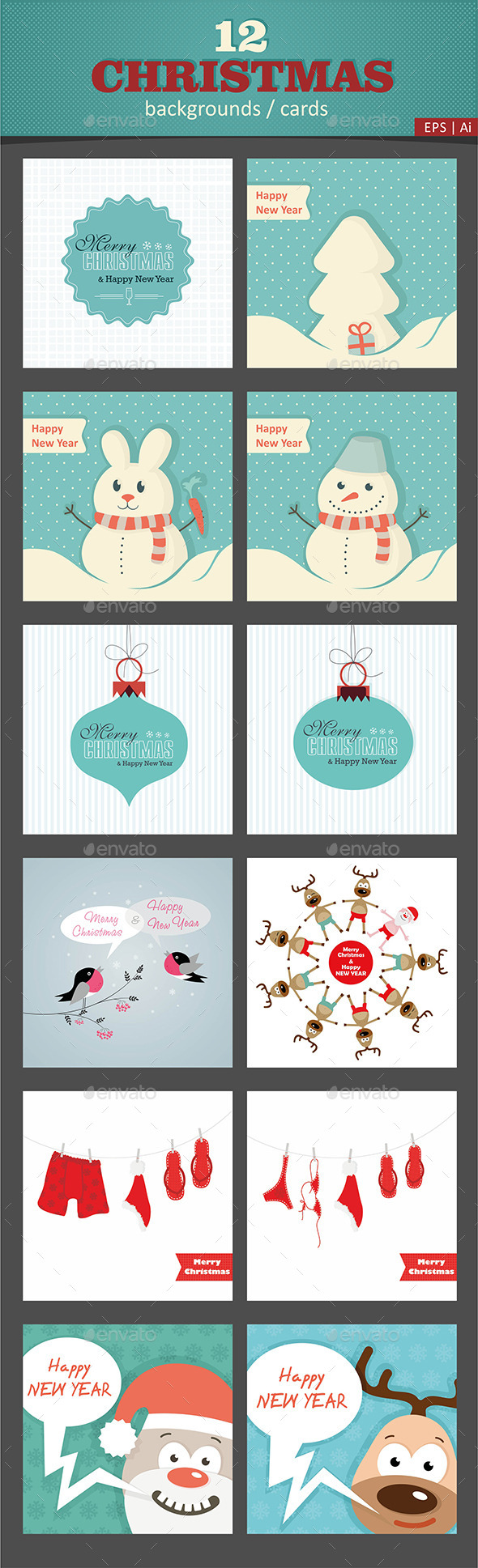 GraphicRiver 12 Christmas Vector Cards Backgrounds 9511795