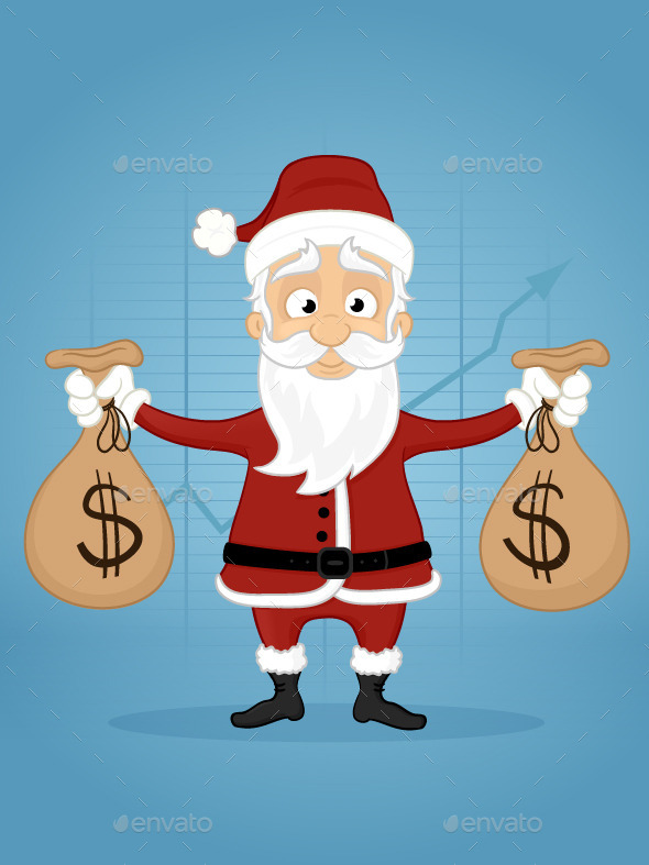GraphicRiver Santa With Money Bags 9511813