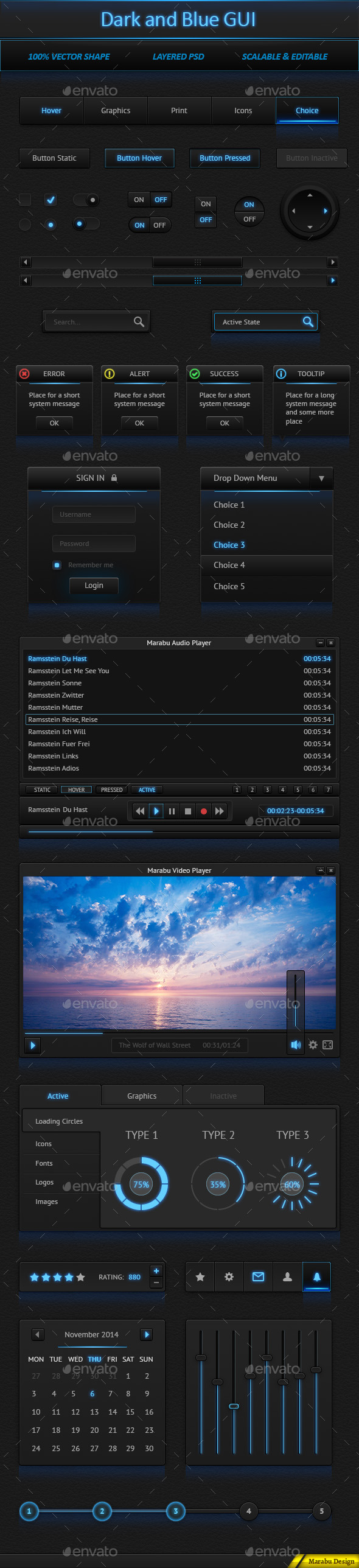 GraphicRiver Dark and Blue User Interface 9448819