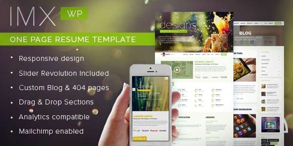 ThemeForest IMX Responsive CV Resume Personal Portfolio WordPress Theme 9024324