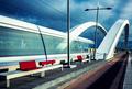 Vertical view of Tramway crossing the bridge - PhotoDune Item for Sale
