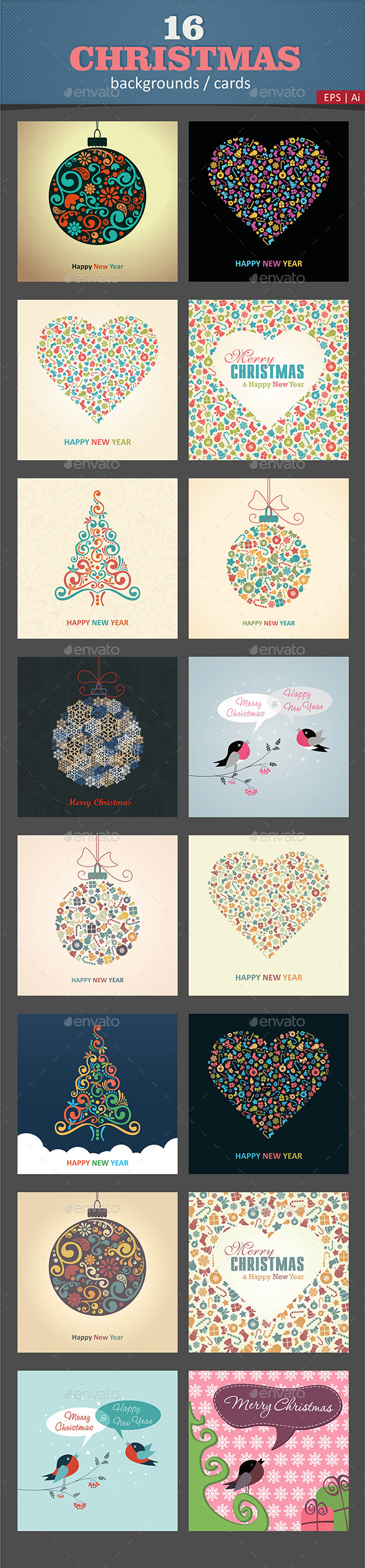GraphicRiver 16 Christmas Cards Backgrounds Vector 9512248
