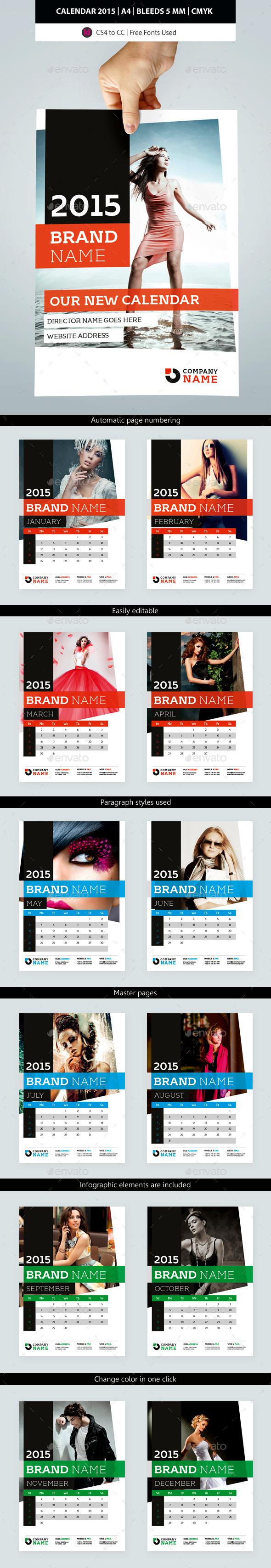 GraphicRiver 2015 Wall Calendar Template Design 9469483