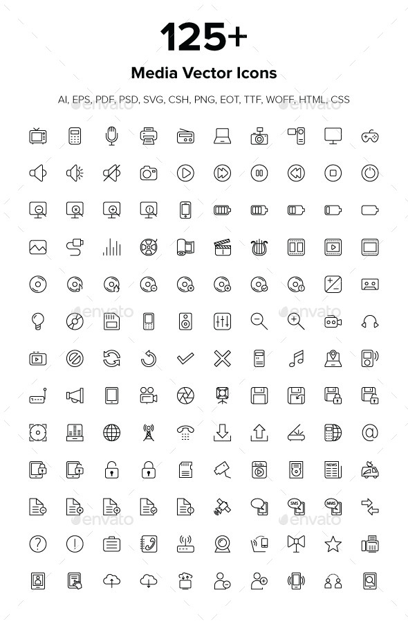GraphicRiver 125& Media Icons 9512431