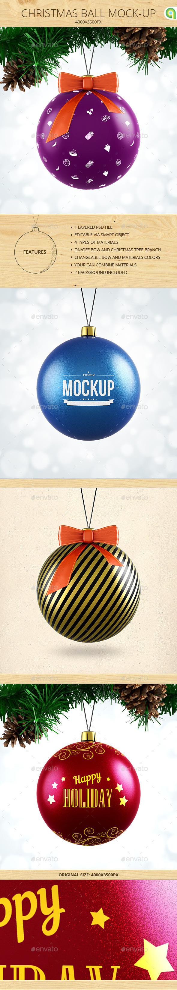 GraphicRiver Christmas Ball Mock-Up 9512527