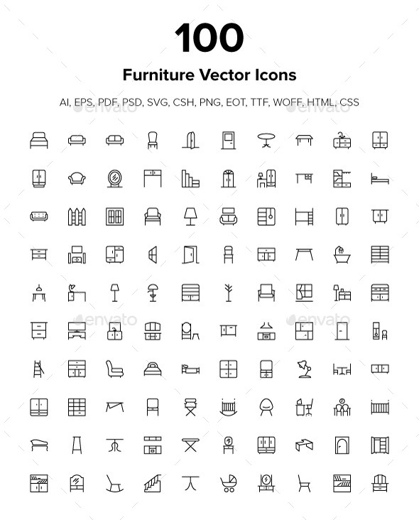 GraphicRiver 100 Furniture Icons 9512540