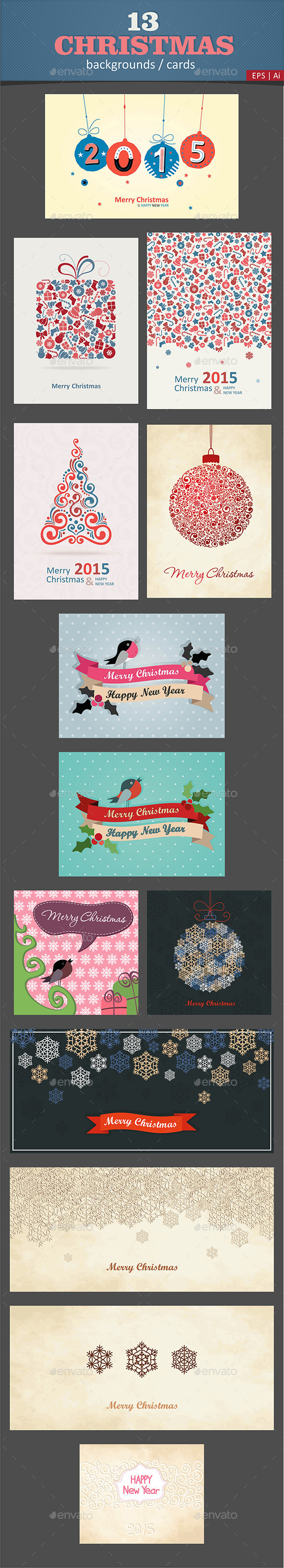 13 Christmas Cards / Backgrounds Vector