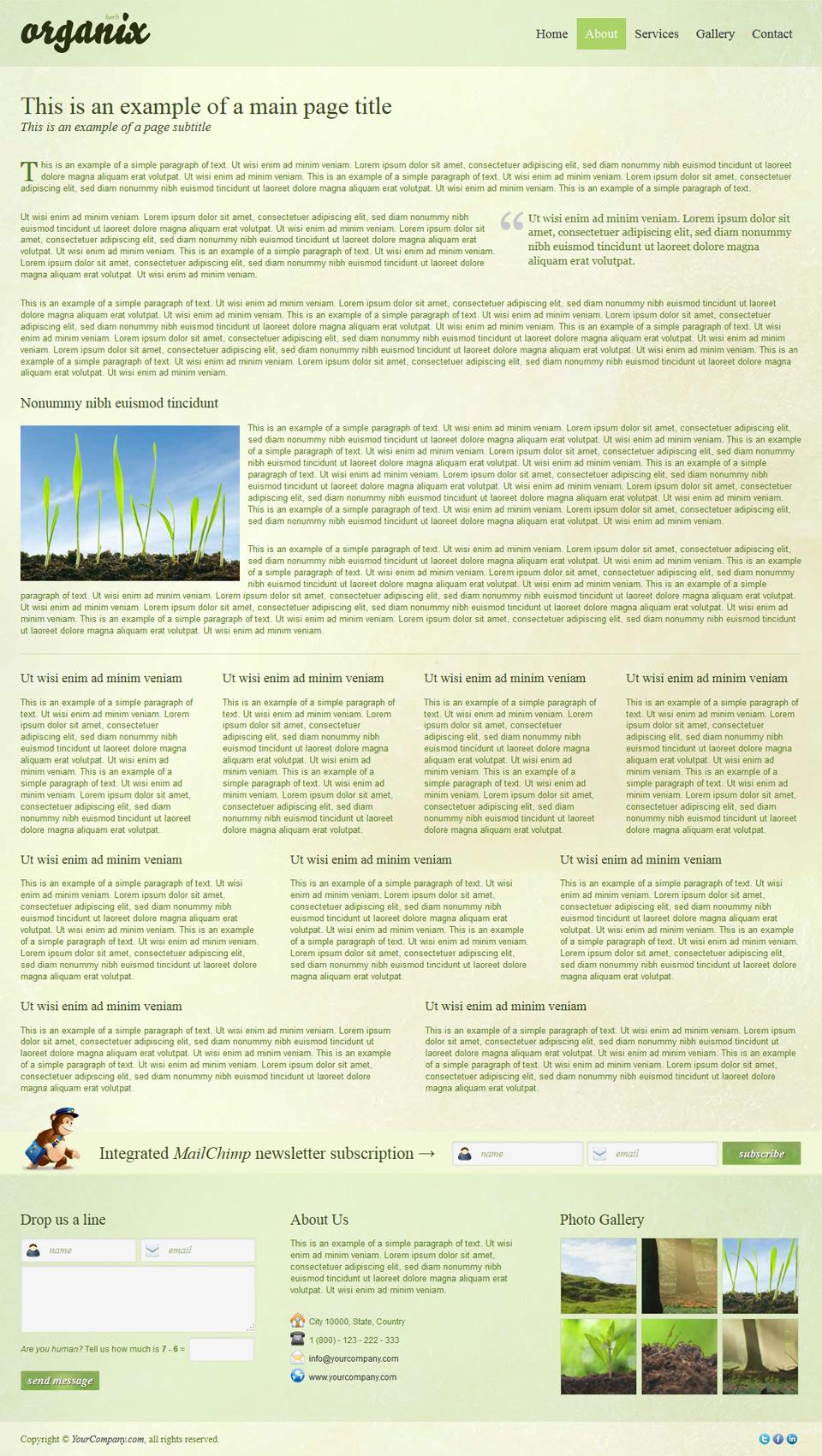 Organix - Simple Product Oriented Landing Page - Organix - Herb Inner Page
