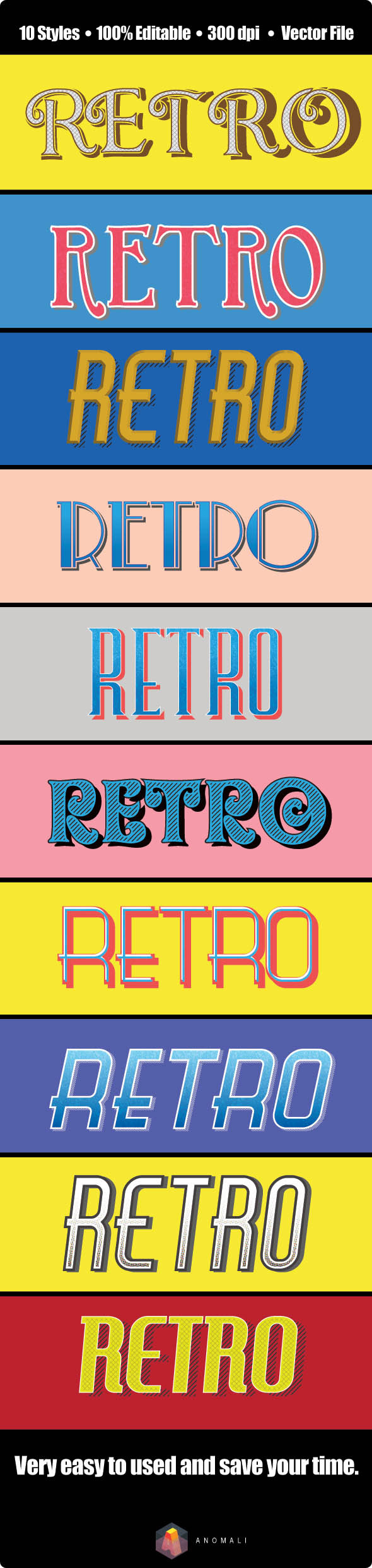 GraphicRiver Vintage Retro Text Effect for Illustrator 9512985