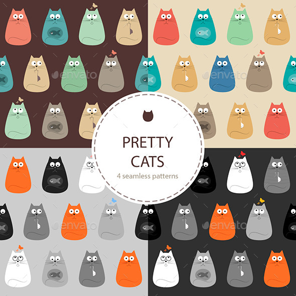 GraphicRiver Cats Set of Seamless Patterns 9513061