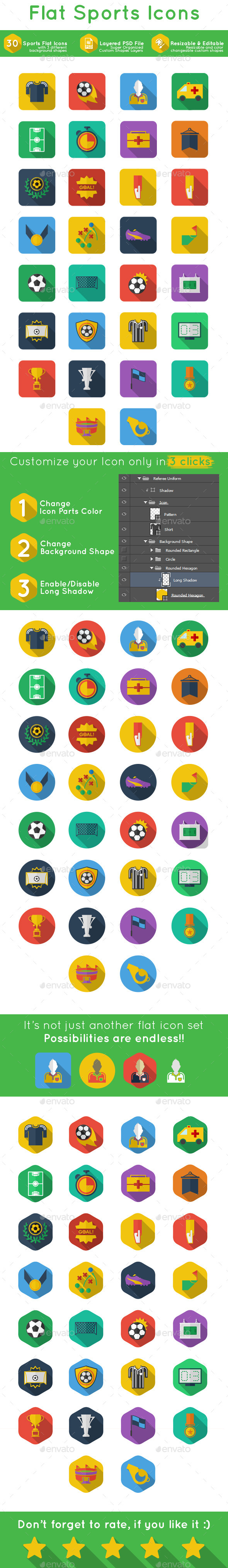 GraphicRiver Flat Sports Icon 9513063
