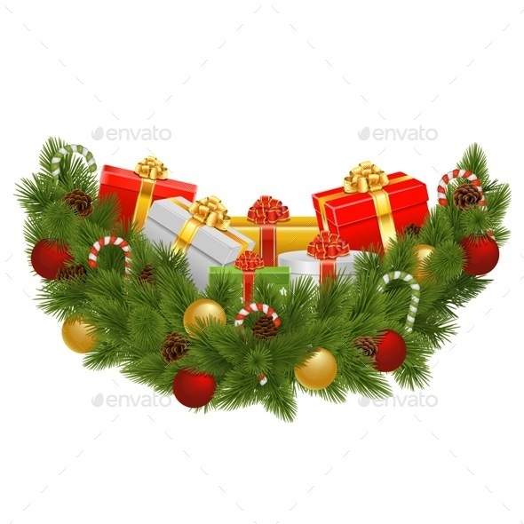 GraphicRiver Vector Christmas Decoration with Gifts 9513066