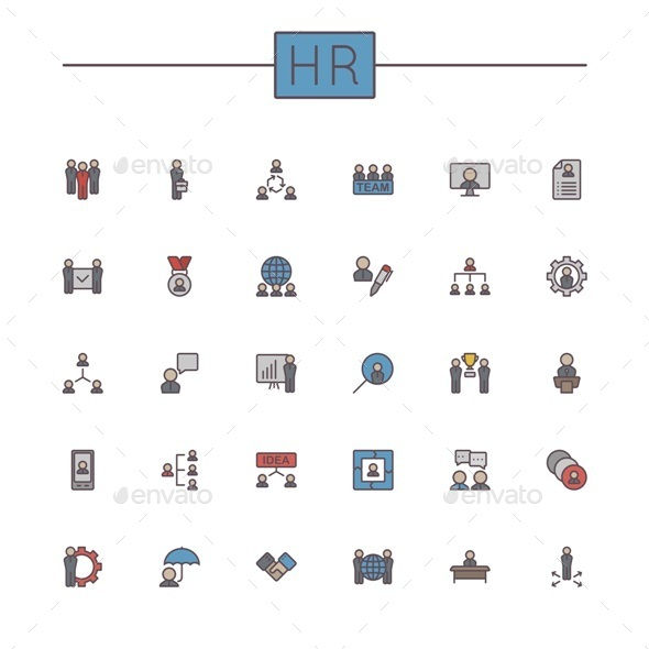 GraphicRiver Vector Colored HR Line Icons 9513134