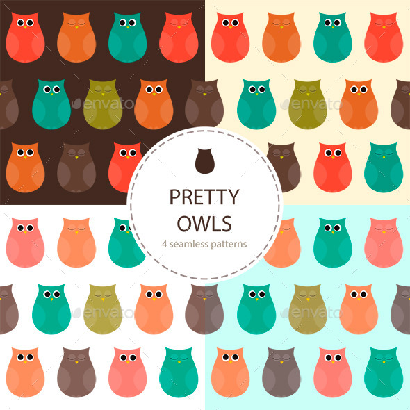 GraphicRiver Owls Set of Seamless Patterns 9513135