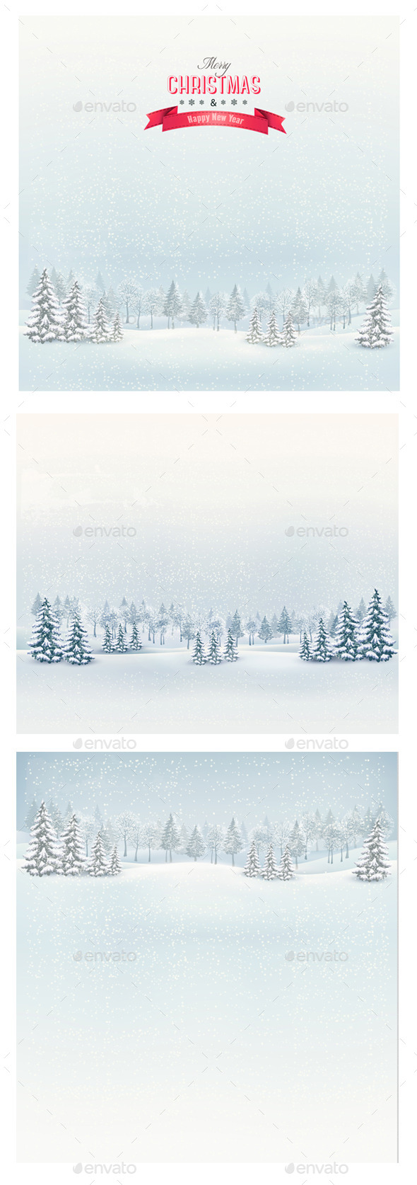 GraphicRiver Christmas Winter Landscape Backgrounds Bundle 9475449