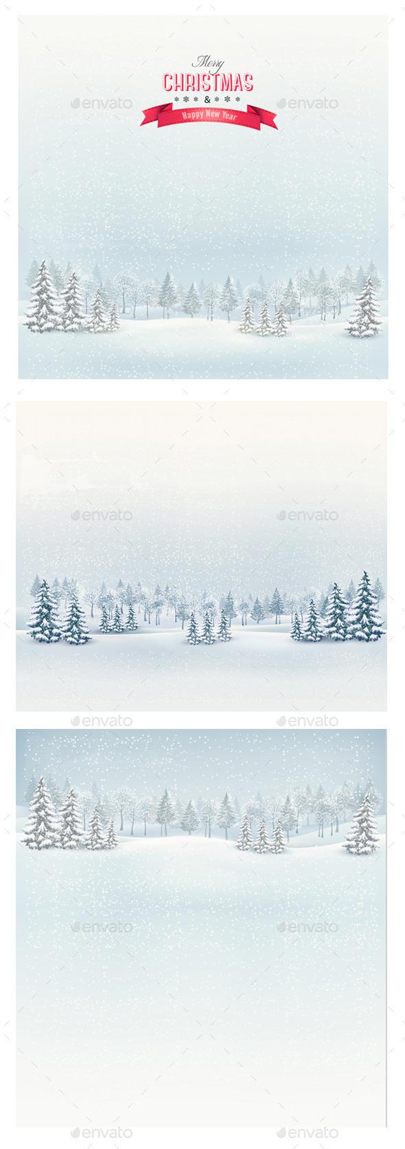GraphicRiver Christmas Winter Landscape Backgrounds Bundle 9475449