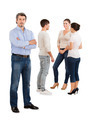 Confident Businessman Standing With Team Discussing - PhotoDune Item for Sale