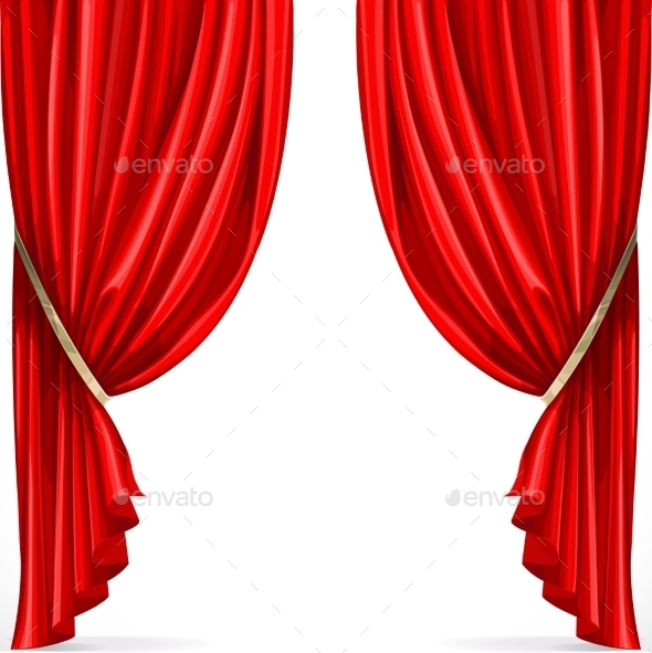 GraphicRiver Red Curtain Collected in Folds Ribbon 9513266