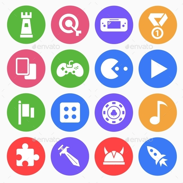 GraphicRiver Gaming Game Flat Icons 9513522