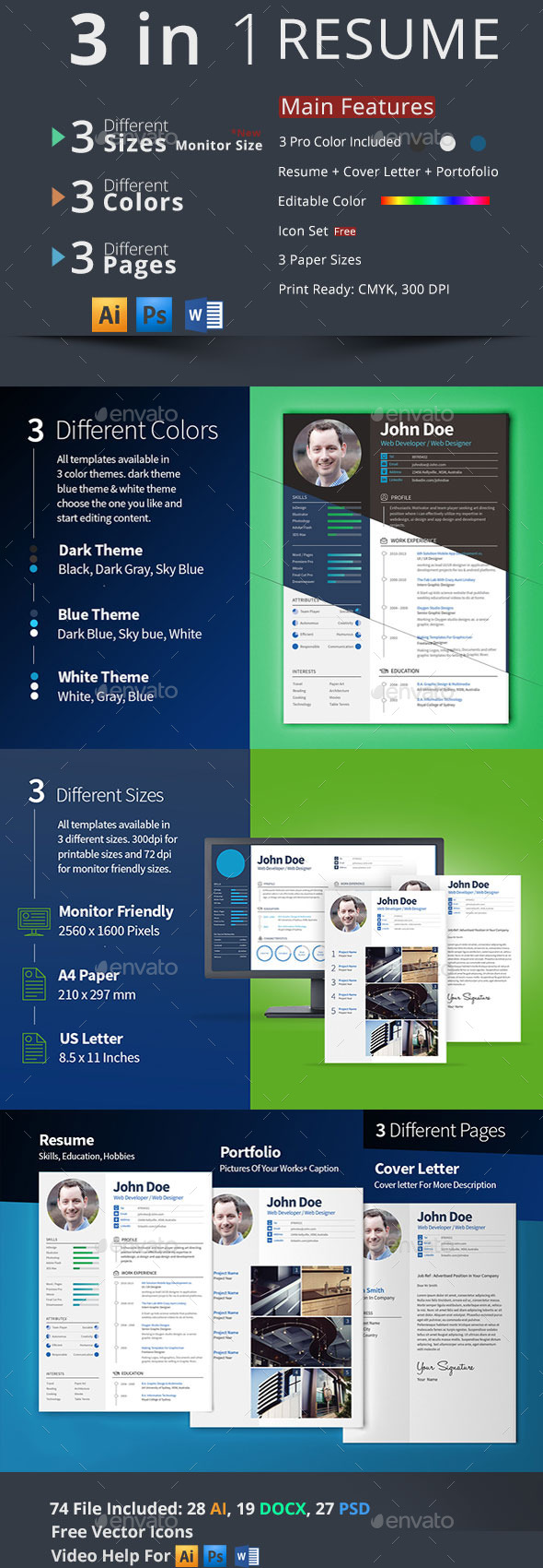 GraphicRiver 3 in 1 Resume Set 9513555