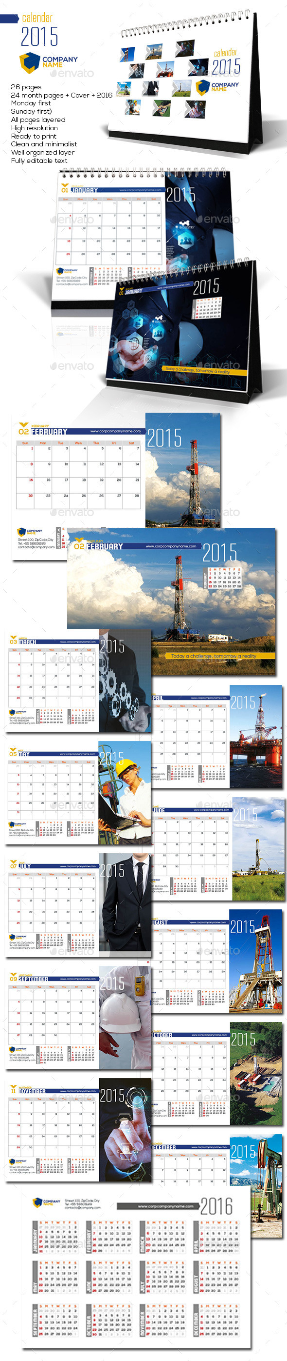 GraphicRiver Corporate Desktop Calendar 2015 9469517