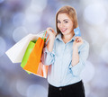 Happy Businesswoman With Shopping Bags And Credit Card - PhotoDune Item for Sale