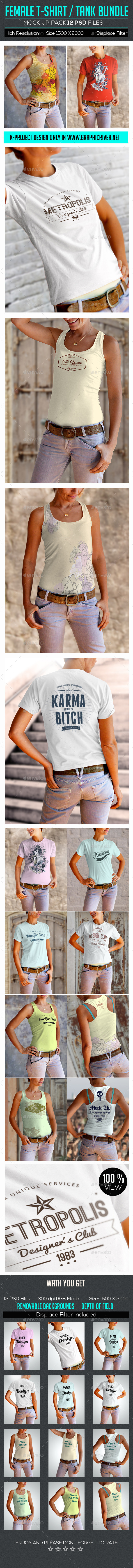 GraphicRiver Female T-Shirt Tank Mock Up Bundle 9473084