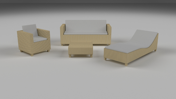 3DOcean Low Poly Wicker Furniture Pack 9513963