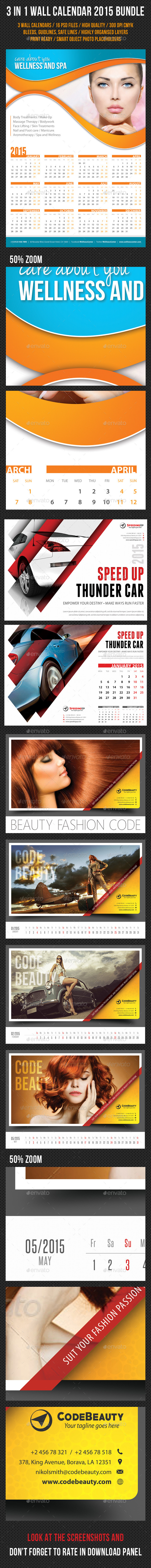 GraphicRiver 3 in 1 Wall Calendar 2015 Bundle V04 9513966