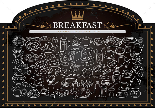 GraphicRiver Breakfast on Blackboard 9513981