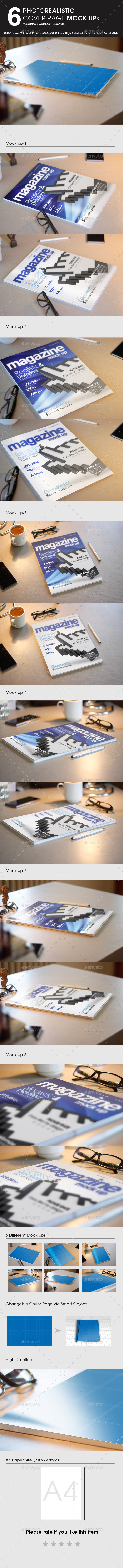 GraphicRiver 6 Photorealistic Magazine Mock Up 9456314