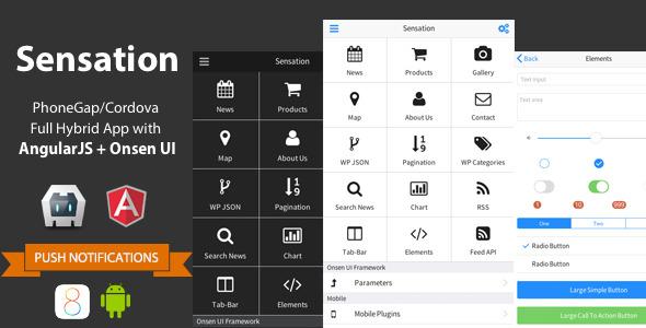 Sensation - PhoneGap/Cordova Full Hybrid App - CodeCanyon Item for Sale