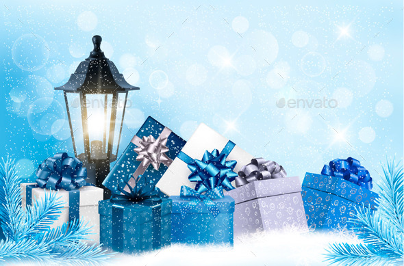 GraphicRiver Christmas Background with a Lantern and Presents 9514379