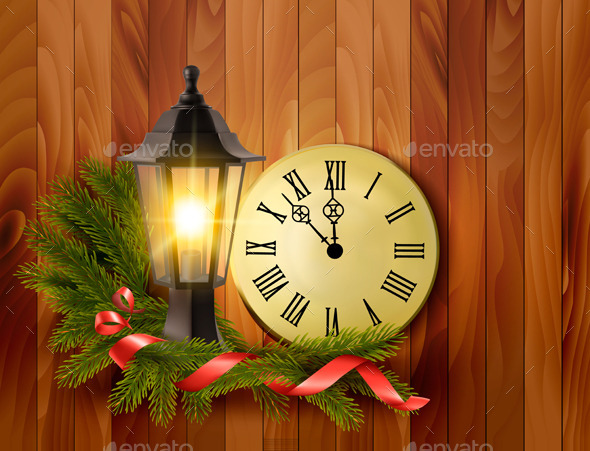 GraphicRiver Christmas Background with a Lantern and a Clock 9514385