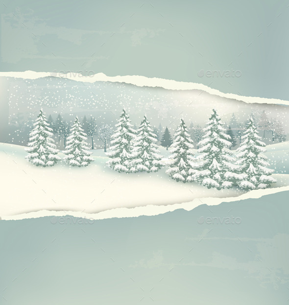GraphicRiver Christmas Winter Landscape Background 9514387