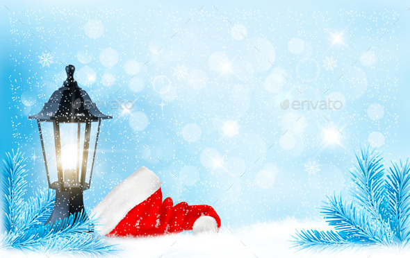 GraphicRiver Christmas Background with a Lantern and Santa Hat 9514398