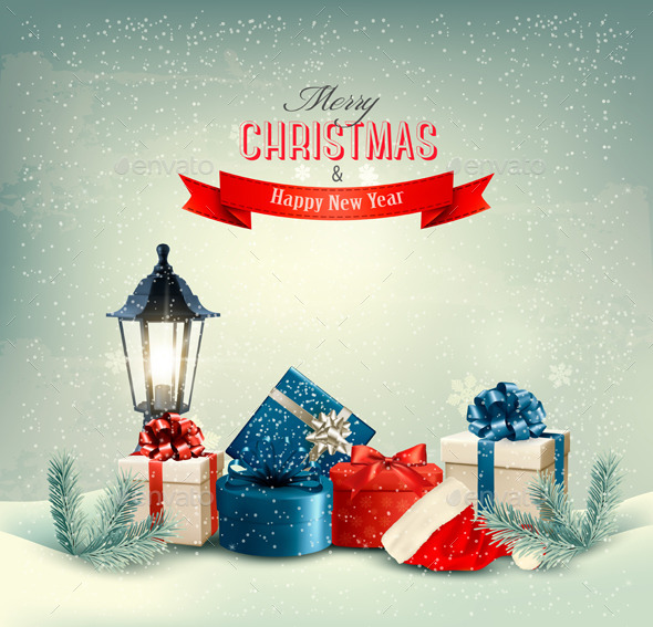 GraphicRiver Christmas Background with Presents 9514408