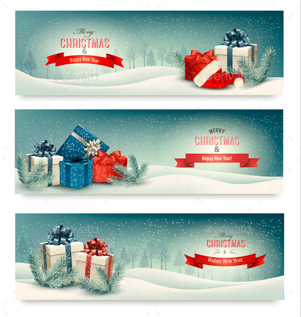 GraphicRiver Three Christmas Banners with Presents 9514417