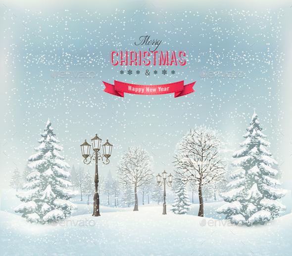 GraphicRiver Christmas Winter Landscape with Lampposts 9514433