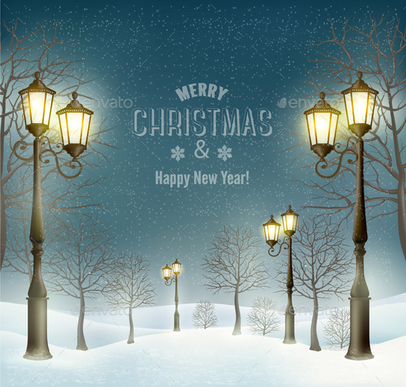GraphicRiver Christmas Evening Winter Landscape 9514451