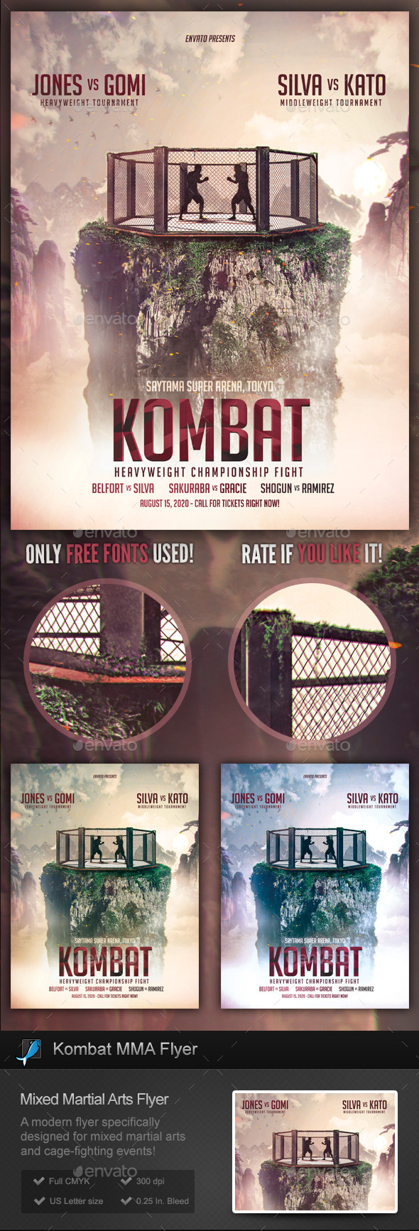 GraphicRiver Kombat MMA Cage Fighting Flyer Template 9514534