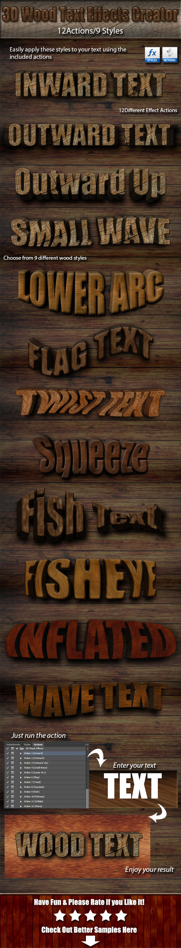 GraphicRiver 3D Wood Text Effects Creator Kit 9514670