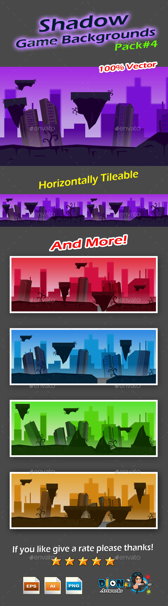 GraphicRiver Shadow Game Backgrounds Pack-4 9514735