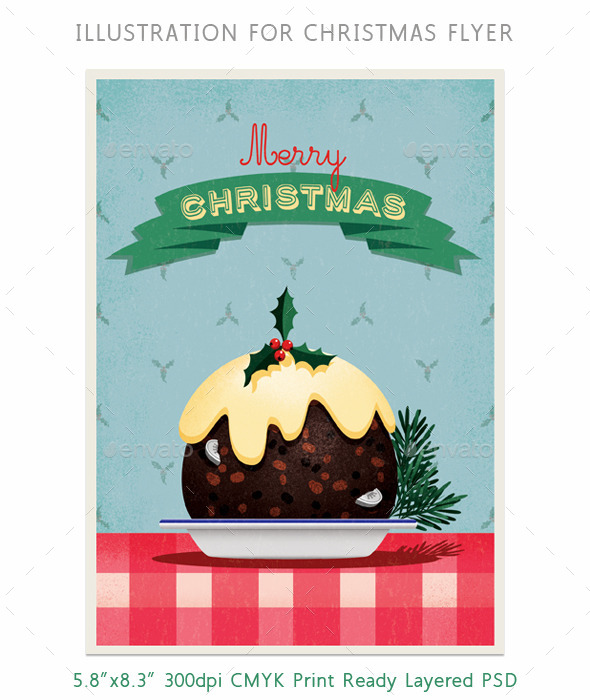 GraphicRiver Christmas Pudding Flyer or Card Illustration 9515106