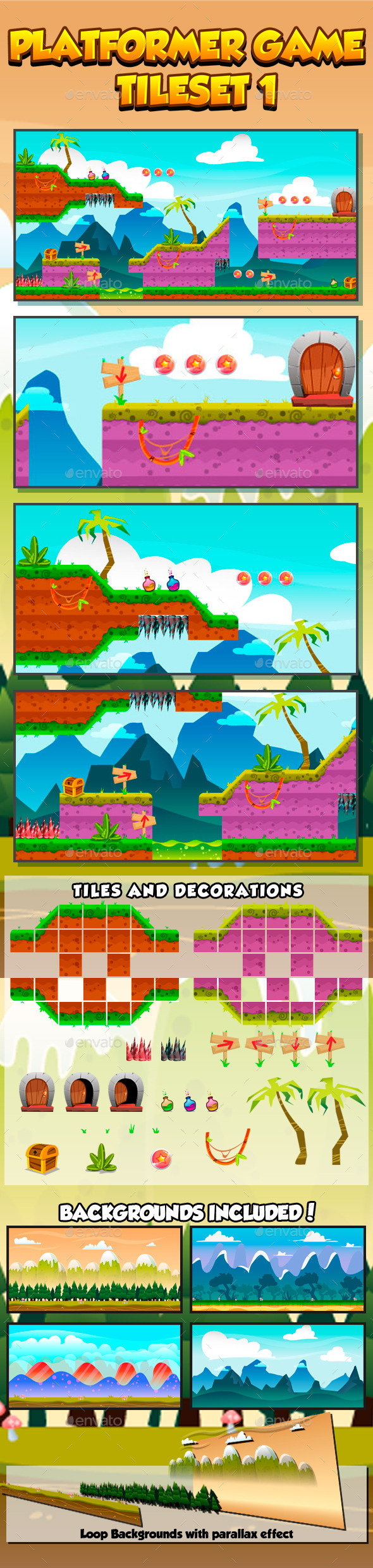GraphicRiver Platformer Game Tile set Collection Series 1 9515132