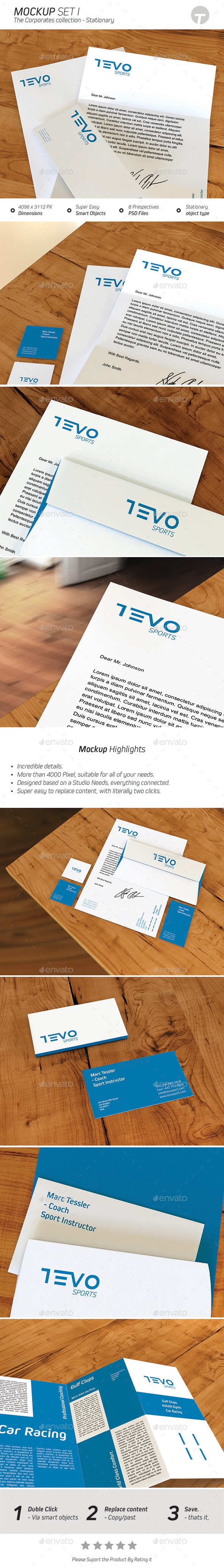 GraphicRiver Stationary Mockup Corporates Collection Set 1 9515174